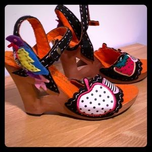 Irregular choice embroidered felted carved wood